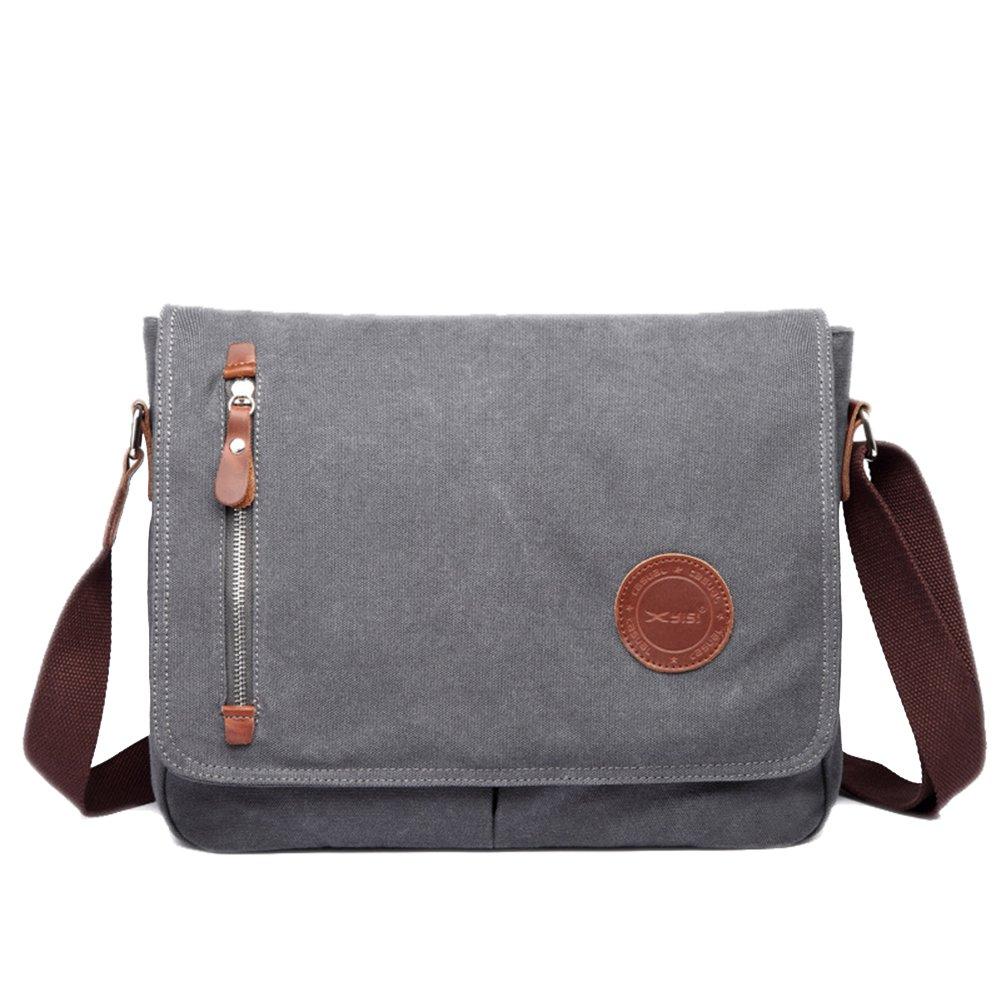 ShiningLove Men's Casual Vintage Canvas Crossbody Bag Shoulder Messenger Bag for iPad