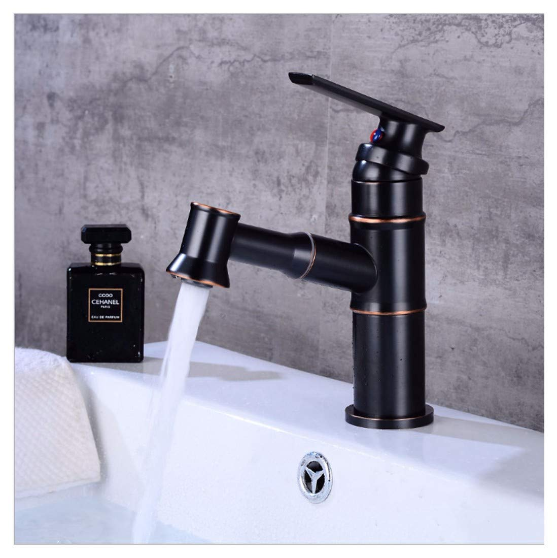 PatTheTap Retro Faucet Vintage Black Brass Tap Bathroom Washasin Water Tap Hot and Cold Mixing Water-Tap Pull Out Round Seat 1-Hole 1 Handle