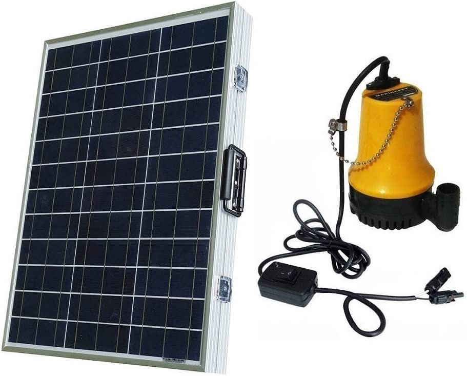 ECO-WORTHY Sistema de bomba de agua solar con panel solar plegable de 120W, 12V, para piscicultura