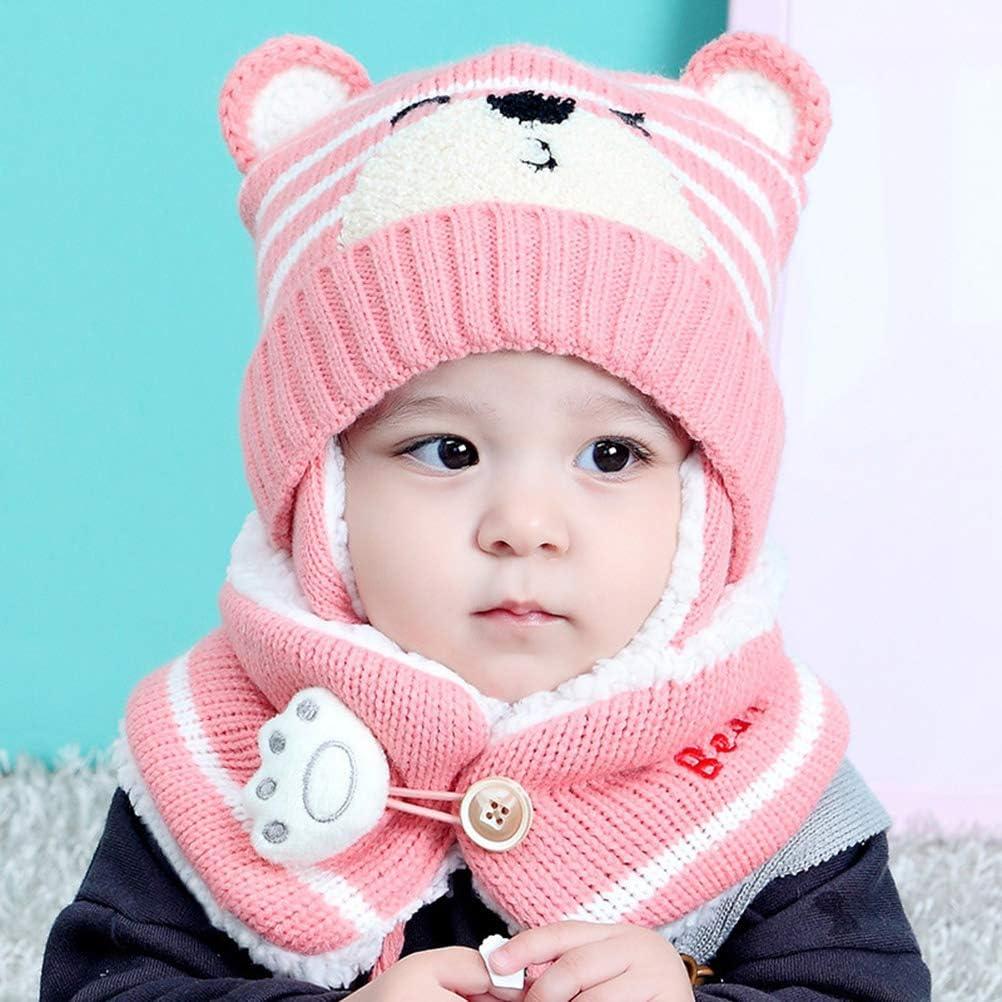 Cute Baby Newborn Winter Warm Hat Scarf Set Beanie Earflap Knit Cap Neck Warmer