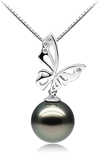 """11-12mm Natural pink  Akoya Pearl Sterling Silver Leaf Pendant Necklace 17/"""" AAA"""