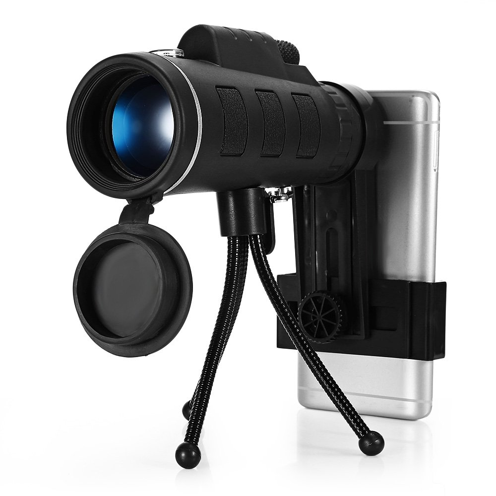 Monocular Telescopes, 40X60 Dual Focus Waterproof Spotting Scopes, Low Night Vision with Phone Clip and Tripod for Cell Phone-for Bird Watching, Hunting, Camping, Hiking, Outdoor, Surveillance