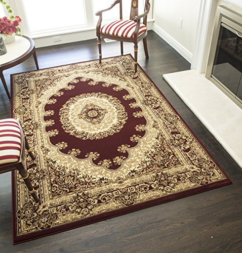 (Rugs America New Vision Area Rug, 3-Feet 11-Inch by 5-Feet 3-Inch, Kerman Red)
