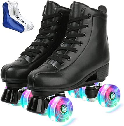 Gets Roller Skates for Women Men,PU Leather High-top Roller Skates for Beginner Double-Row Wheels Indoor Outdoor Roller Skates Adult Youth Unisex with Shoes Bag