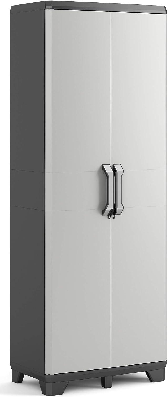 Keter Gear - Armario alto con 3 baldas, 182 x 68 x 39 cm, color gris/antracita