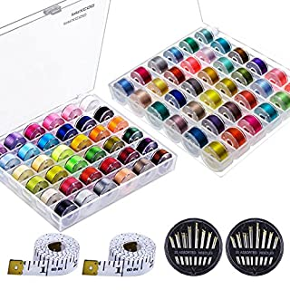Paxcoo 72 Pcs Bobbins and Sewing Thread with Case for Brother Singer Babylock Janome Kenmore (Assorted Colors)