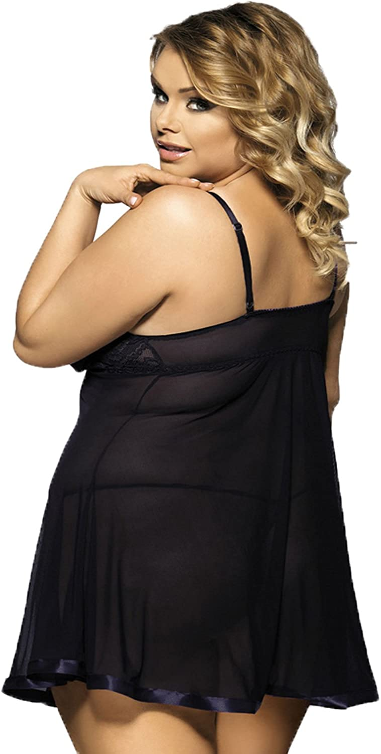 Yummy Bee Plus Size Lingerie Lace Babydoll Dress Set G String Underwired 8-24
