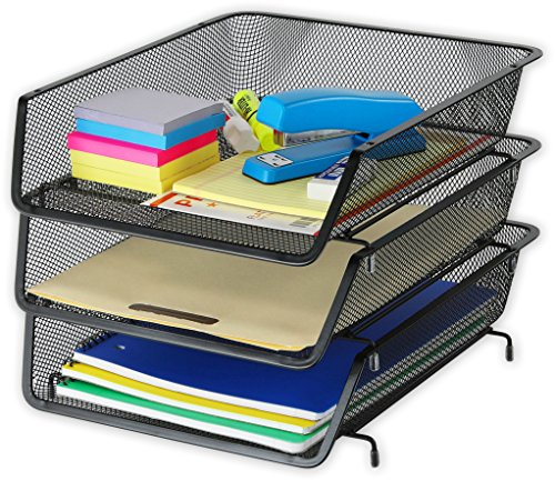 3 Pack - Stackable Desk File Document Letter Tray Organizer, Black ()