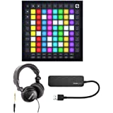 Novation Launchpad Pro MK3 Bundle with TH-03 Over-Ear Headphones and Knox Gear 3.0 4 Port USB Hub (3 Items)