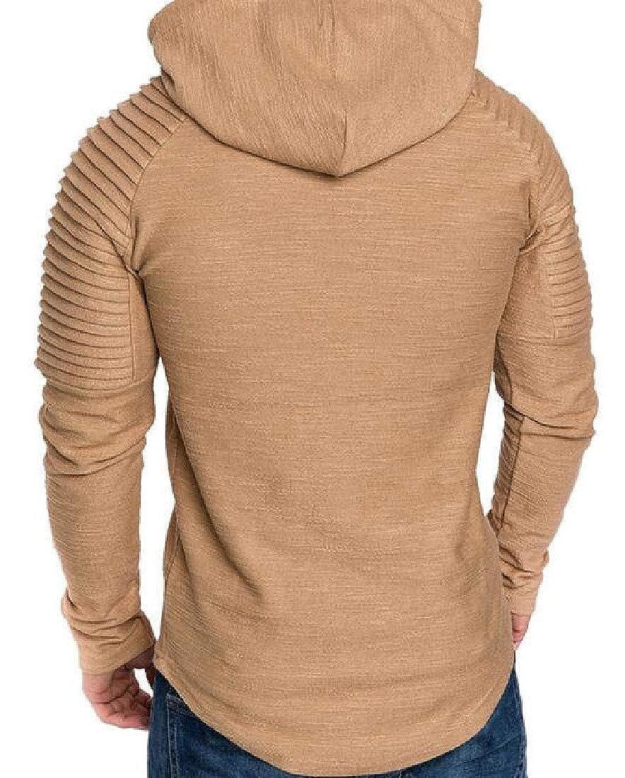 Cromoncent Men Casual Tees Solid Hoodies Long Sleeve Slim T-Shirt