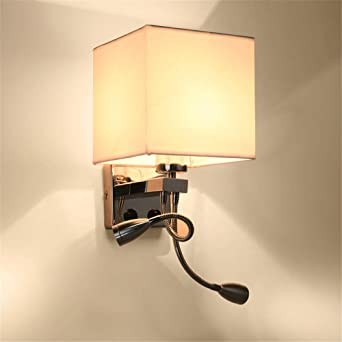Luces LED de pared tejidos cuadrados salón dormitorio estudio habitaciones de hotel, blanco /17x35cm