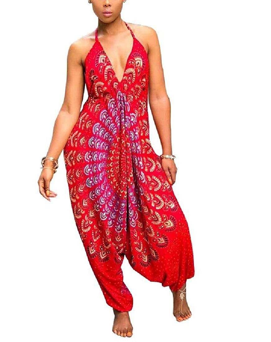 Comaba Women Back Detail Sleeveless Hippie Boho Romper Jumpsuit Playsuit
