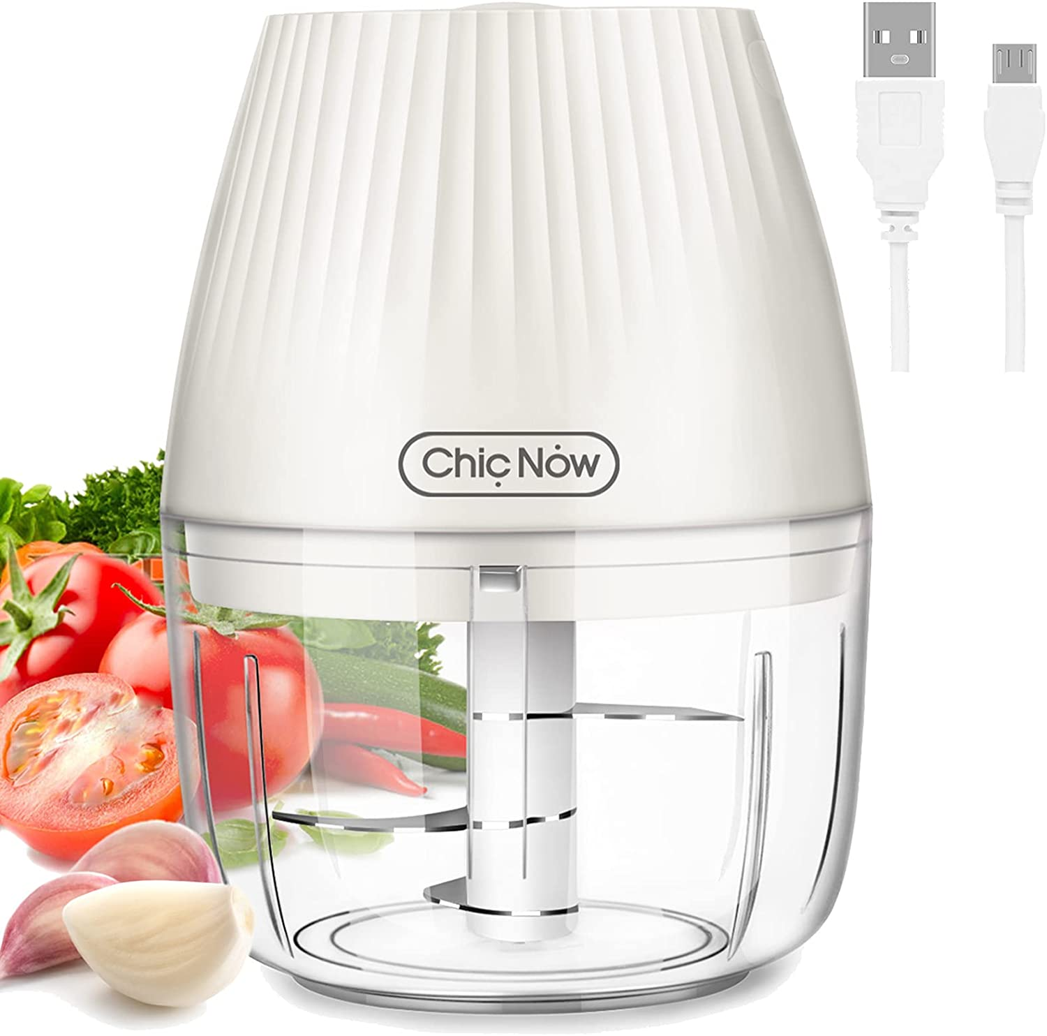 Electric Mini Chopper Wireless CHIC NOW Food Processor with USB Interface, 250ml Bowl 3 S-Shaped Stainless Steel Blades, Chop Vegetables, Meet, Garlic, Spices for Kitchen, Traveling, RV, etc.
