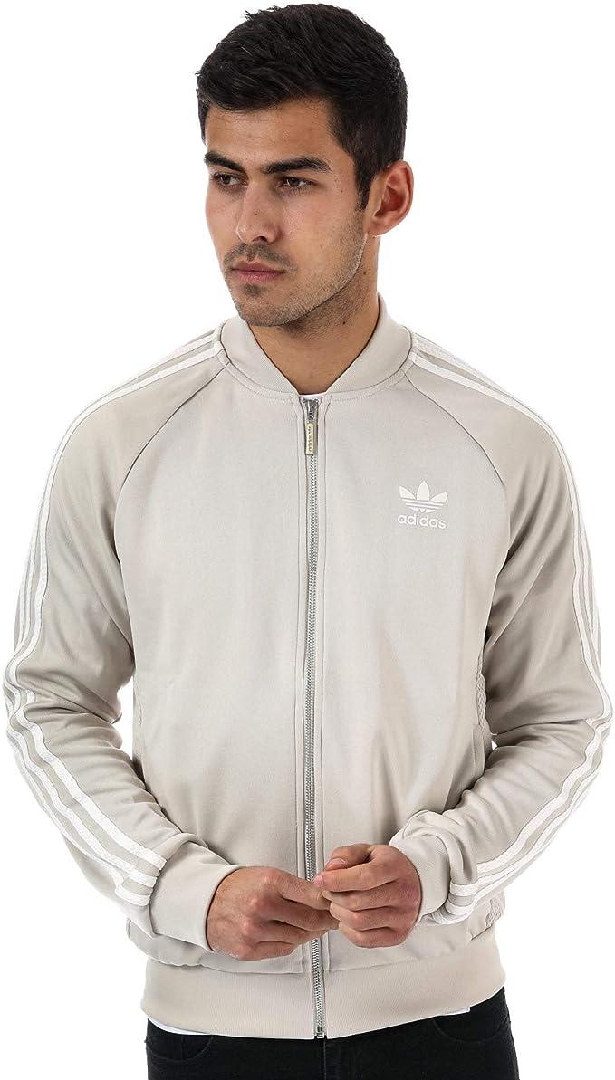 Chaqueta de chándal de malla Adidas Originals Superstar para hombre, color beige Marrón marrón L: Amazon.es: Ropa y accesorios