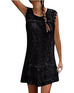 fd3e7fcd7726 ZANZEA Women s Summer Lace Crochet Sleeveless Long Tops Double Layer Hollow  Sheer Cap Causal Shirt Short