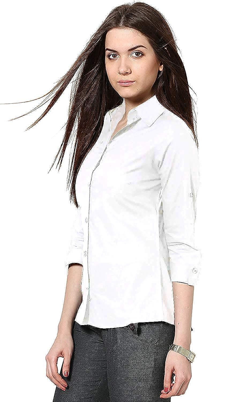 ab69293be Leriya Fashion Women s Rayon and Crepe Long Sleeve Casual Shirt (White