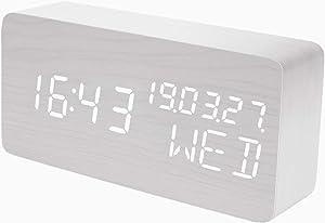 Raercodia Alarm Clock Wooden Digital Clock Decorative Modern LED Desk Clock Display Time Date Week Temperature Sound Control Brightness Adjustable (White)
