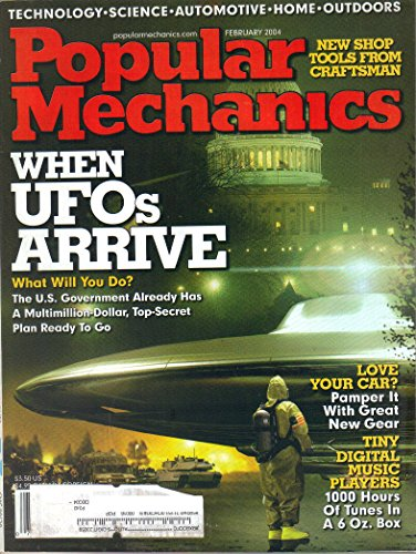 POPULAR MECHANICS Magazine February 2004 Volume 181 No. 2 (Technology, Science, Automotive, Home Outdoors, Whwn UFOs arrive, shop tools from craftsman, tiny digital music players) ()