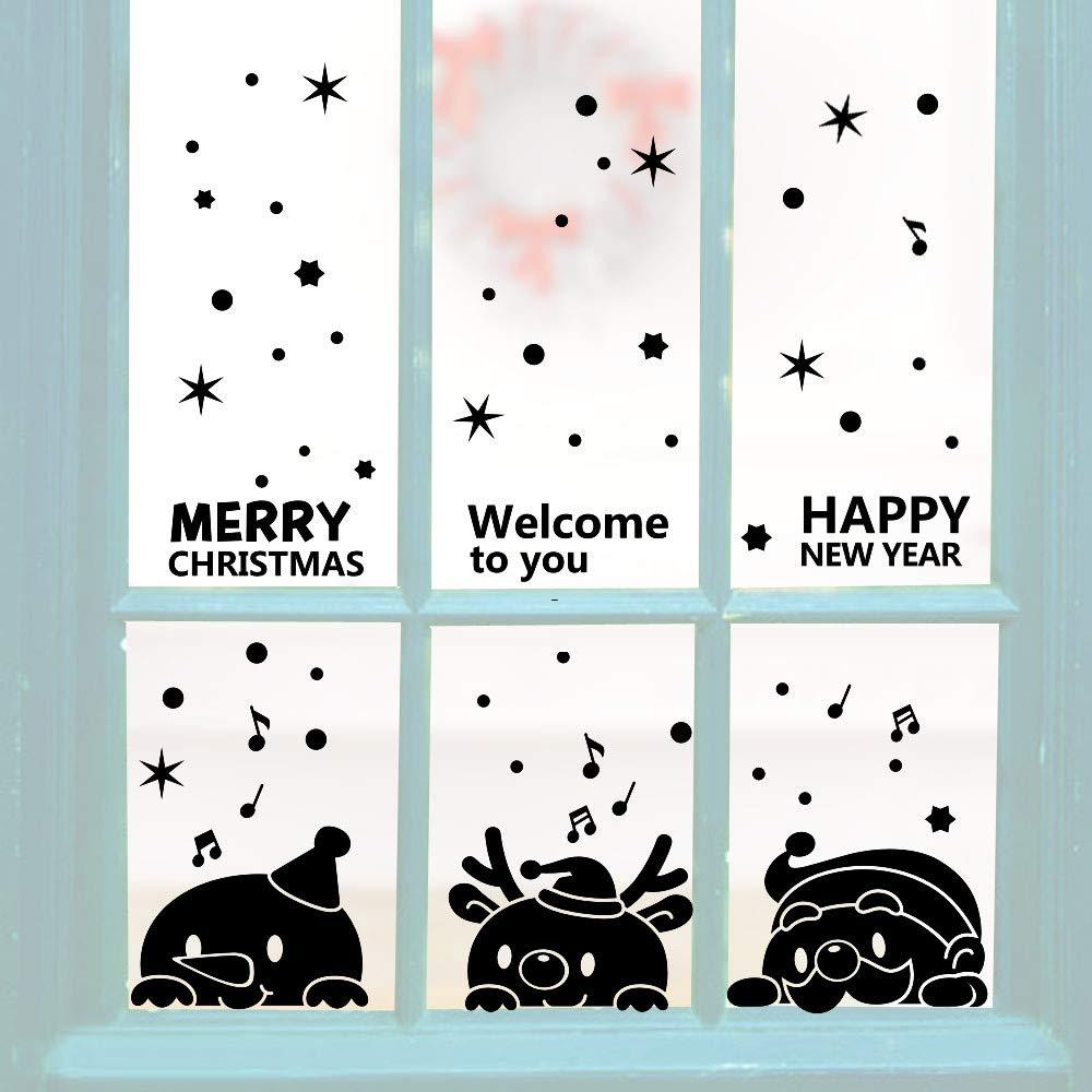 新品即決 Chezaa Year ドア Merry 壁画 クリスマス クリスマス Chezaa 壁用ステッカー デカール 室内装飾 アート 壁画 取り外し可能 クリスマス ガラス 窓 ドア ホームショップ パーティー B07JZ1CKF9 ブラック, フジイデラシ:9cbbb7d9 --- beyonddefeat.com