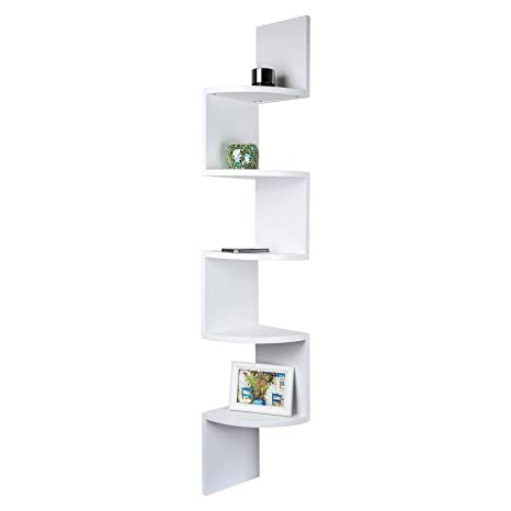 Mensole A Zig Zag.Tophomer Wall Mounted Corner Floating Display Shelf Unit 5 Tier Zig Zag Bookcase Storage White For Bedroom Living Room