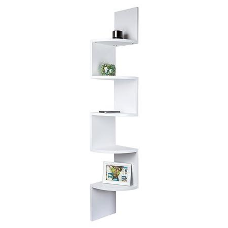 185fe67ebe6 TopHomer Wall Mounted Corner Floating Display Shelf Unit 5 Tier Zig Zag  Bookcase Storage White for