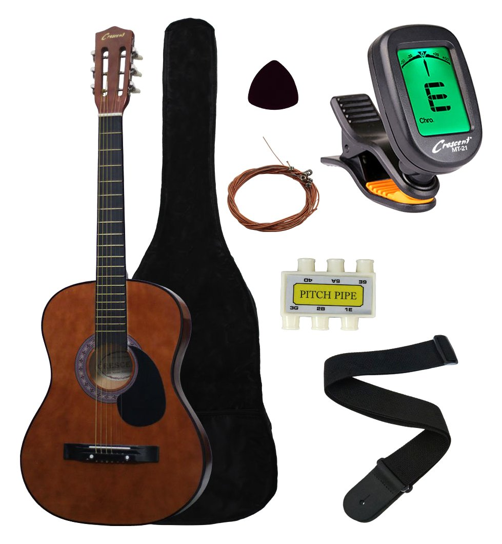 "B002X49732 Crescent MG38-CF 38"" Acoustic Guitar Starter Package, COFFEE (Includes CrescentTM Digital E-Tuner) 61LECDBXZDL"