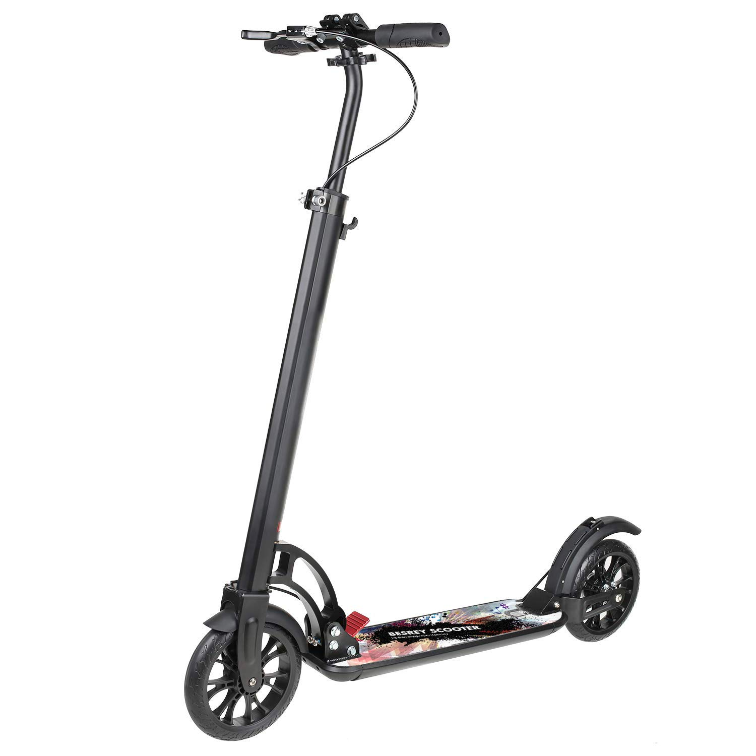 besrey Kick Scooter, Scooter Big Wheel 200 mm for Adult and Teen/Kids Age 8 UP with Hand Brake (Black with Carry Strap) by besrey