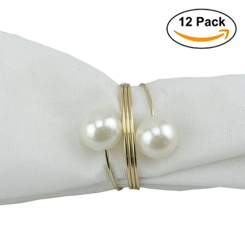 Elinq Set of 12 Imitation Pearls Napkin Rings for Wedding, Party, Holiday, Dinner Decor(Gold)