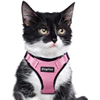 Small Dog Harness, Cat Harness Pink Escape Proof Cat Harness Adjustable Vest Harnesses with Reflective Strap Soft Mesh Metal Clip No Choke Comfort Fit Walking Jacket for Girl