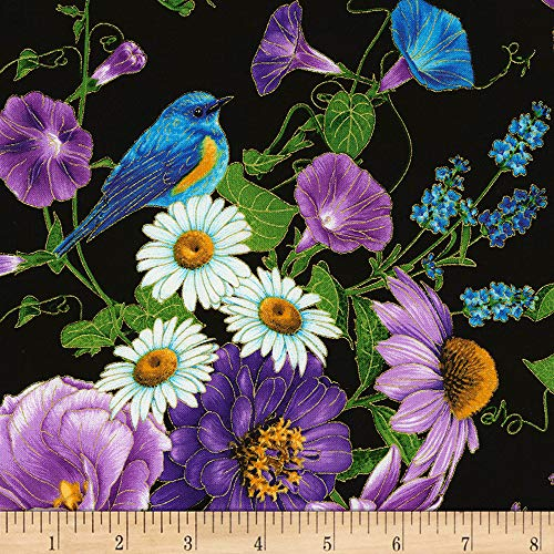 Timeless Treasures Metallic Cottage Grove Allover Flowers Black, Fabric by the Yard ()