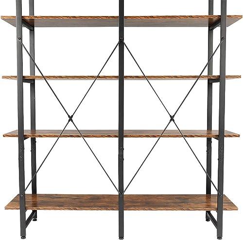 Double Wide 5-Tier Open Bookcase Vintage Industrial Shelves Large Bookshelf