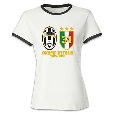 99bda2dbc65 YLAUO Juventus Football Club Women s Cotton Contrast O-Neck T-Shirt Tee  Black