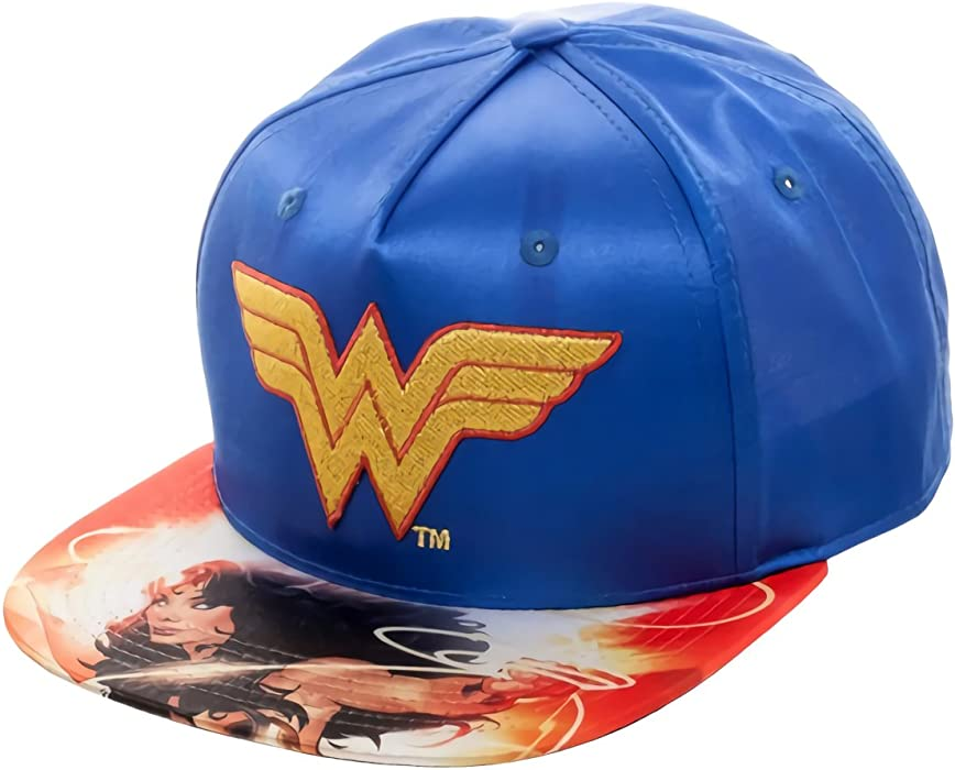finest selection 83f18 35d2b Amazon.com  DC Comics Wonder Woman Satin Snapback Baseball Hat Blue   Clothing