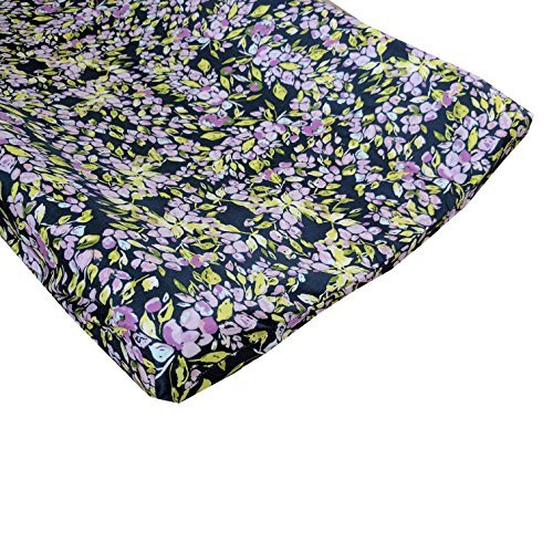 Bougainvillea Lilac and Navy Floral Changing Pad Cover - Fits Standard Contoured Changing Pads [並行輸入品]   B078426S3R