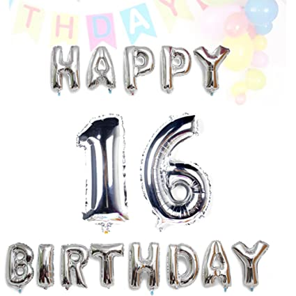 AZOWA Sweet 16 Balloons Jumbo Number With Silver Happy Birthday Letter For