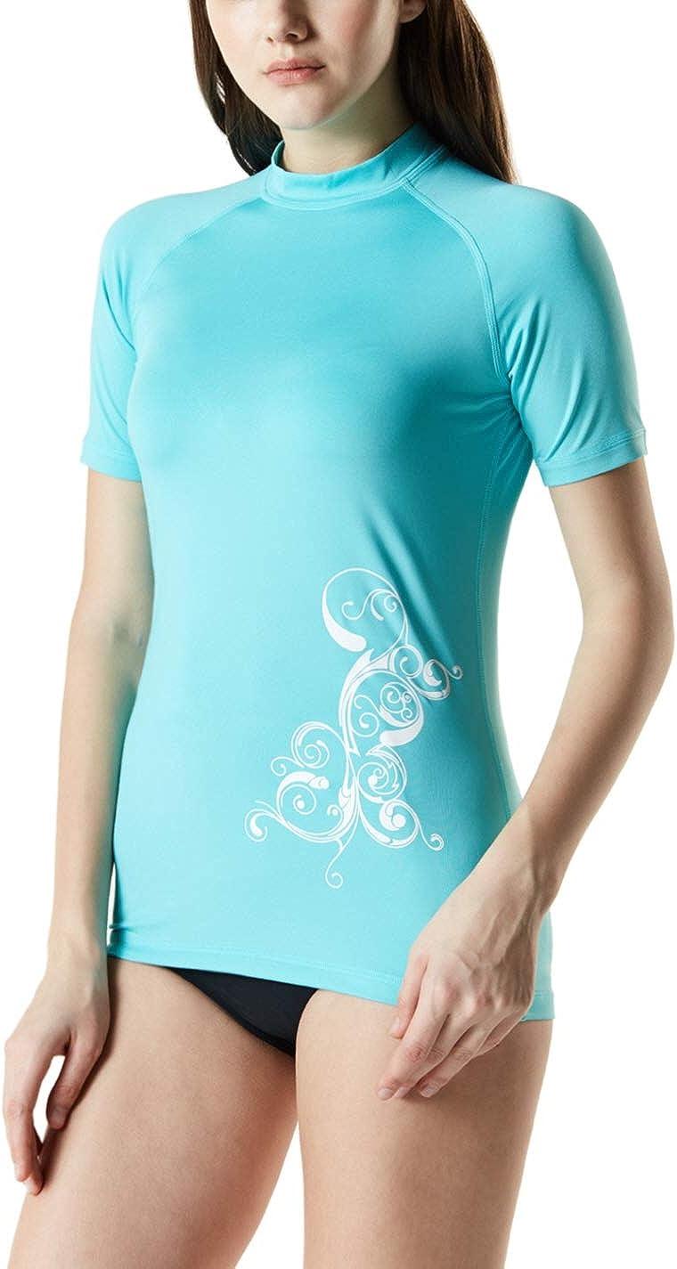 TSLA Women's UPF 50+ Rash Guard Short Sleeve, UV/SPF Surf Swim Shirts, Water Beach Swimsuit Top