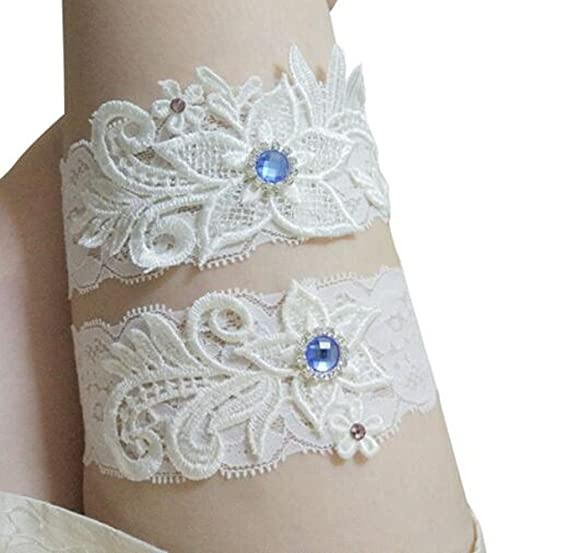 6f72dba43ff Amazon.com  Bhwin Rhinestones Lace Wedding Bridal Garter Belt Set (A ...