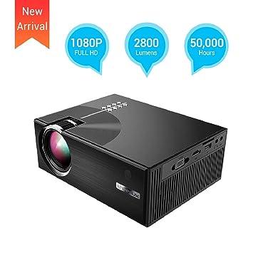 UKSoku Mini Proyector Portátil 2800 Lúmenes Multimedia Proyector de Vídeo LED HD Proyector Cine en Casa Vida hasta 50000 Horas Soporte 1080P HDMI USB ...