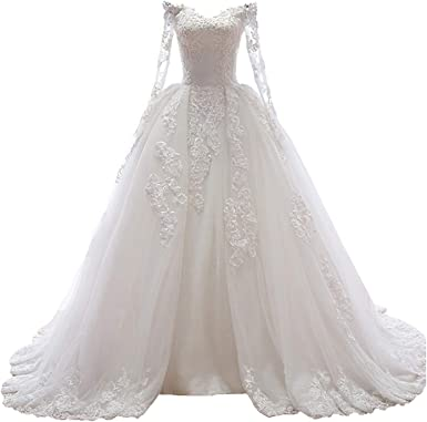 Fair Lady Gorgeous Ball Gown Wedding Dress For Bride With Sleeves Off Shoulder Long Lace Bridal Gown At Amazon Women S Clothing Store
