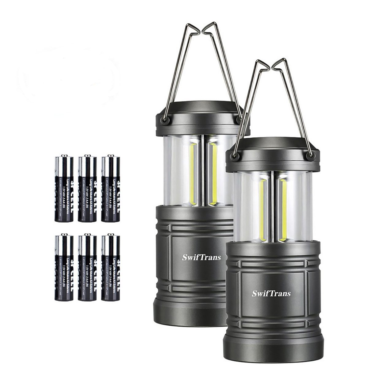 LED Camping Lantern- Swiftrans Lantern Flashlight Ultra Bright Survival Gear for Emergencies, Hurricanes with Magnetic Base(Batteries Included Collapsible) (2 Pack)