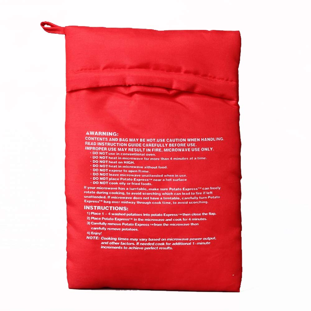 Finaut 6 Pack Reusable Microwave Potato Cooker Bag, Potato Pouch Cooker, Perfect Potatoes Just in 4 Minutes (Red)