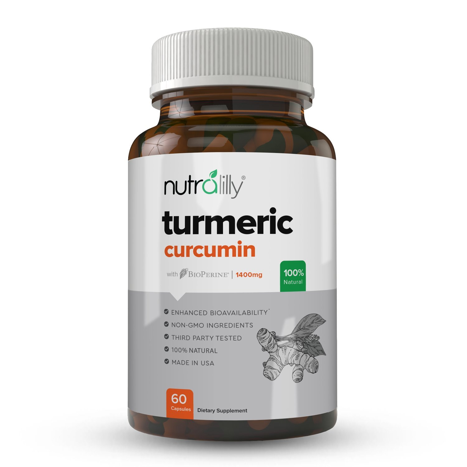 Organic Turmeric Curcumin with BioPerine Black Pepper Extract. 1420mg Turmeric Curcumin Supplement for Pain Relief & Joint Support with 95% Curcuminoids.
