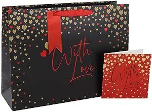 Clairefontaine 26337-2C Bolsa de papel de regalo 26,5 x 14 x 33 cm dise/ño con textoWith Love