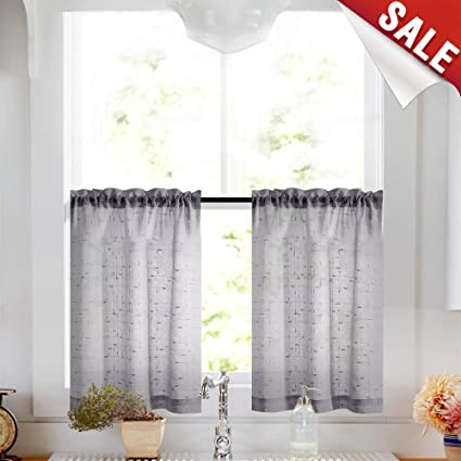 Gray Tier Curtains 36 inch Rod Pocket Kitchen Window Tiers Sheer Cafe  Curtain Set Linen Textured Grey Voile Drapes 2 Panels