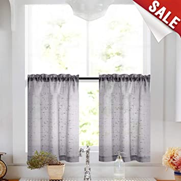 Gray Tier Curtains 24 inch Rod Pocket Kitchen Window Tiers Sheer Cafe  Curtain Set Linen Textured Grey Voile Drapes 2 Panels