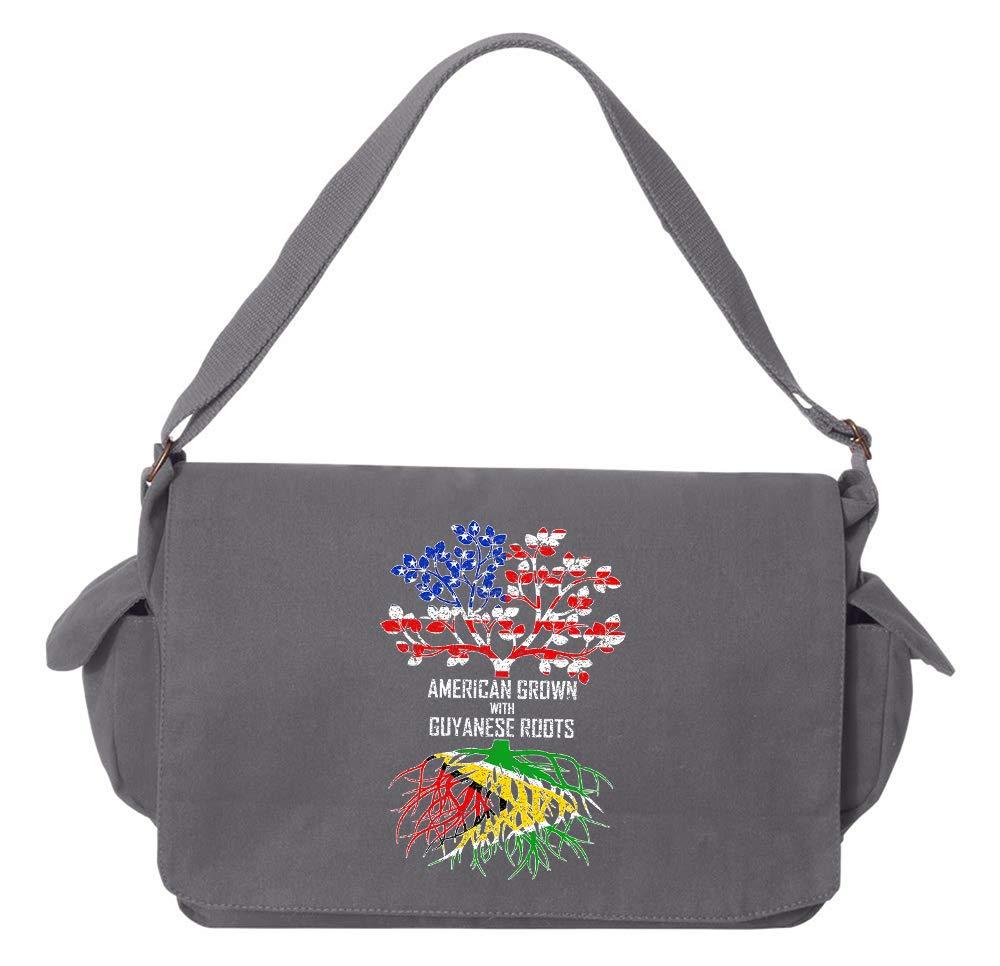 Tenacitee American Grown with Guyanese Roots Flamingo Raw Edge Canvas Messenger Bag