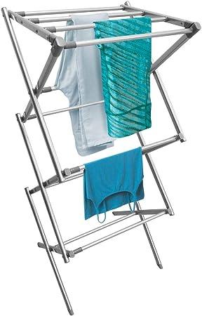 mDesign Tendedero plegable con 2 alturas plateado//blanco//gris Secador de ropa con 4 patas para una gran estabilidad Tendedero vertical de metal con 6 brazos para colgar 54 perchas de ropa