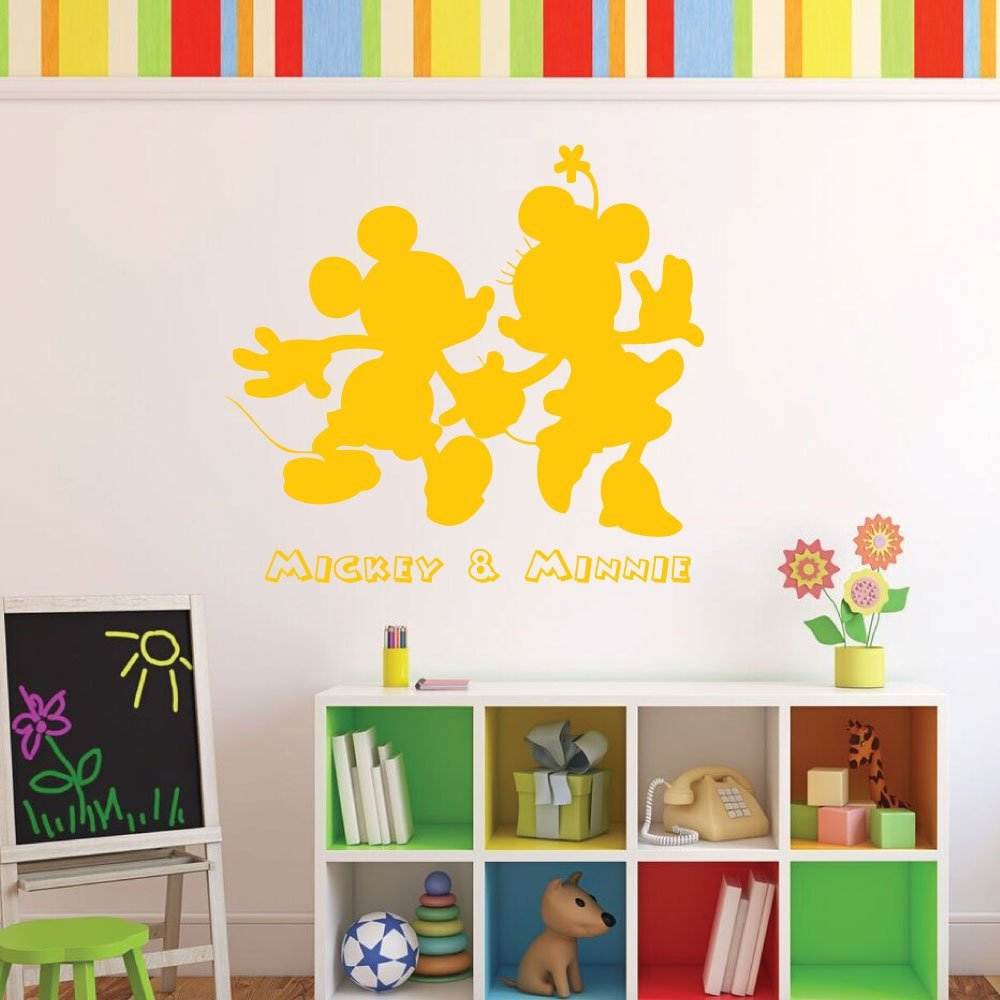 Amazon.com: Mickey & Minnie Mouse Vinyl Wall Decals - Disney Themed ...