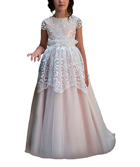 Vintage Lace Overlay Flower Girl Dress for Wedding Kids Fairy Ball Gowns  Blush Pink Size 2 95b7298c9