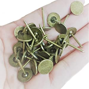 "100 Pcs Bronze Upholstery Nails Decorative Round Flat Head Tacks Brass Snag Vintage Thumb Stud Copper Push Pins Antique for Furniture (Head Dia:7/16"", Height:11/16"")"